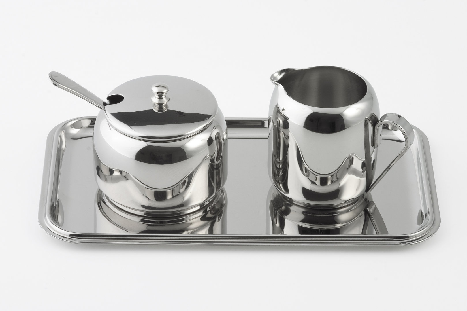 sugar and creamer set with tray   stainless steel highly  - sugar and creamer set with tray   stainless steel highly polished