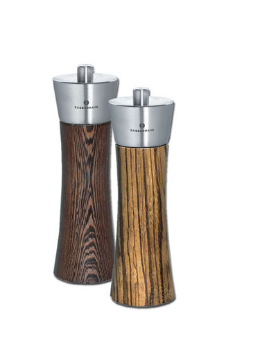 Zassenhaus Pepper & Salt Mill Set, Wenge / Zebrawood, 7.0 Inch