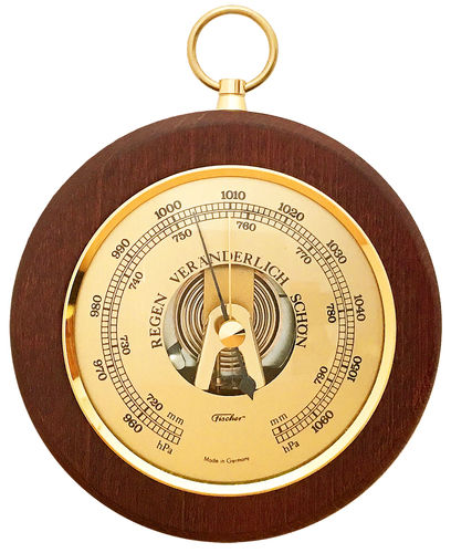 Barometer Messing/Mahagoni 140 mm - 1366R-22 (Deutsch)