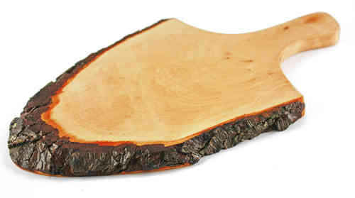 Rustic Vesper Board with Handle & Natural Bark / 14.2 - 16.1 Inches