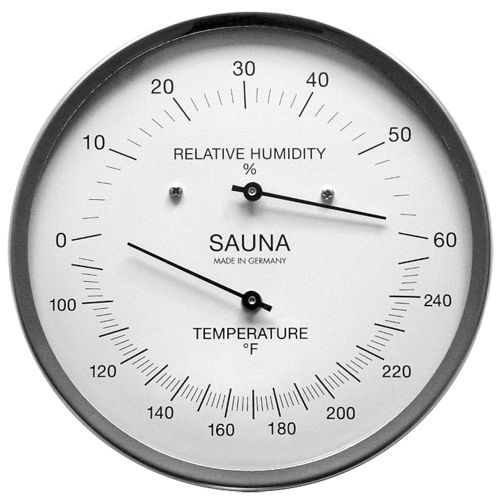 Sauna Thermometer & Hygrometer 5.1 Inch, 194-01F (English, °F)