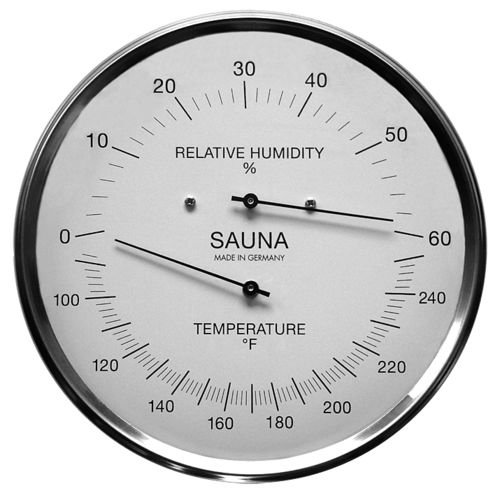 Sauna Thermometer & Hygrometer 6.3 Inch, 195-01F (English, °F)