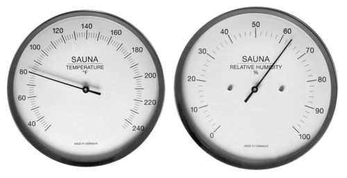 Sauna Thermometer + Hygrometer, 5.1 Inch, Set: 197-01F + 191-01EN (English, °F)