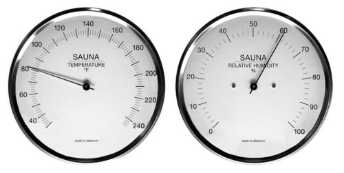 Sauna Thermometer + Hygrometer, 6.3 Inch, Set: 198-01F + 192-01EN (English, °F)