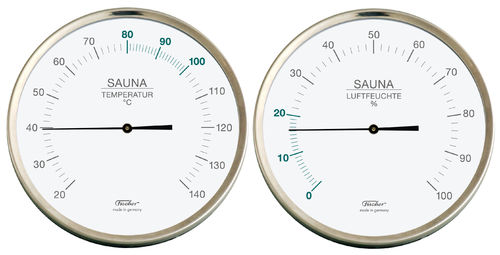 Sauna Thermometer + Hygrometer, 5.1 Inch, Set: 197-01 + 191-01 (German, °C)