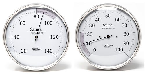 Sauna Thermometer + Hygrometer, 160 mm, Set: 198-01 + 192-01