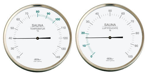 Sauna Thermometer + Hygrometer, 6.3 Inch, Set: 198-01 + 192-01 (German, °C)