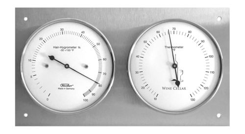 Wine Cellar Hygrometer & Thermometer 9.4 x 5.1 Inch, 140.01  (English, °F)