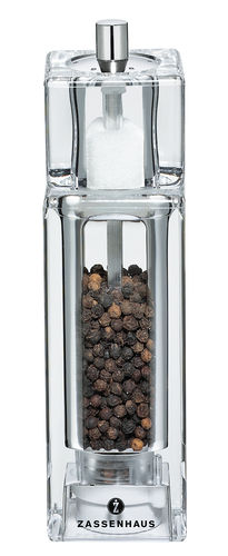 Zassenhaus Combi Pepper & Salt Mill SOLINGEN, 16 cm, Acrylic 4-square - 035124
