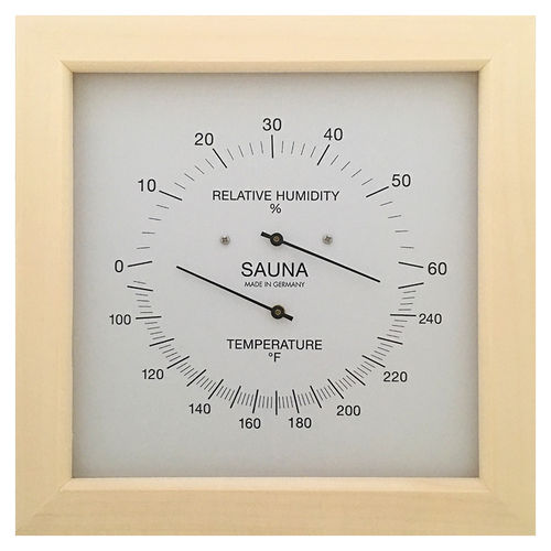 Sauna Thermometer & Hygrometer 200 mm, 187TH-03F (English, °F)