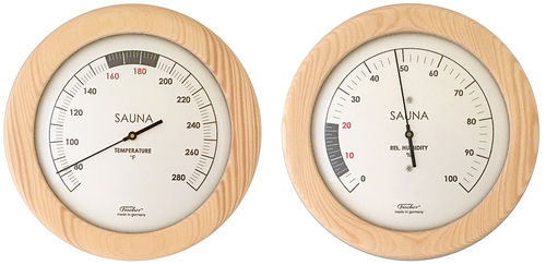 Sauna Thermometer + Hygrometer, 155 mm, Set: 196T-03F + 196H-03EN (English, °F)