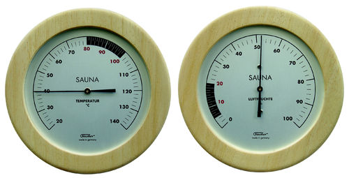 Sauna Thermometer + Hygrometer, 155 mm, Set: 196T-03 + 196H-03