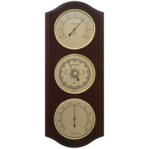 Weather Station with Thermometer, Barometer & Hygrometer 395 x 155 mm, mahogany - 9178-22-US °C+°F