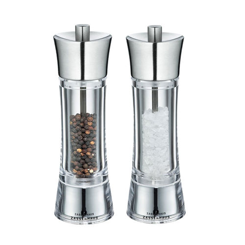 Zassenhaus Salt / Pepper Mill AACHEN, Acrylic / Stainless Steel