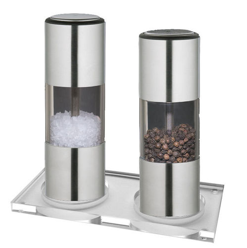 Salt- & Pepper Mill Set ULM 13 cm, with Coaster  - 30068/30075+U