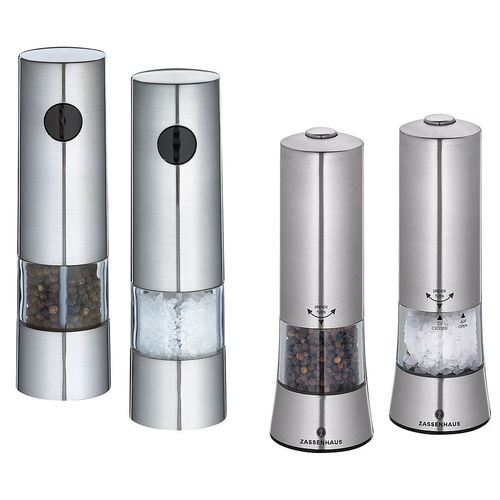 Zassenhaus Salt / Pepper Mill electric, Stainless Steel