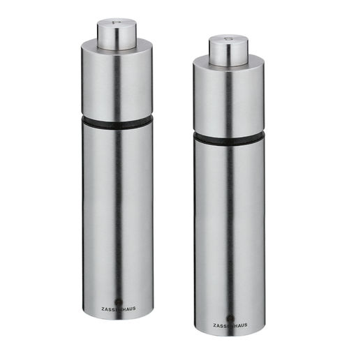"Zassenhaus Salt / Pepper Mill ""Karlsruhe"", 13 & 16 cm, Stainless Steel"