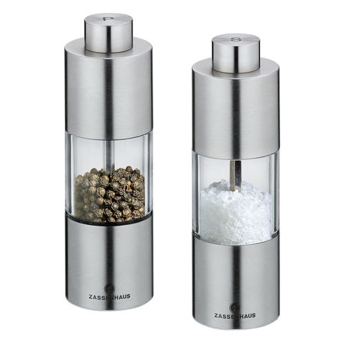 "Zassenhaus Salt / Pepper Mill ""Mainz"" 13 cm Stainless Steel / Acrylic"