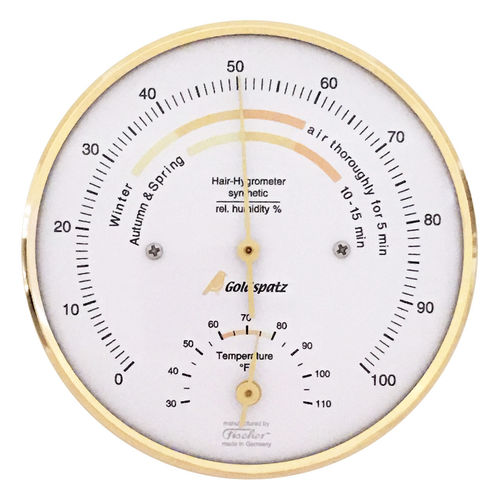 Goldspatz Wohnklima-Hygrometer mit Thermometer °F (US-version), 103 mm